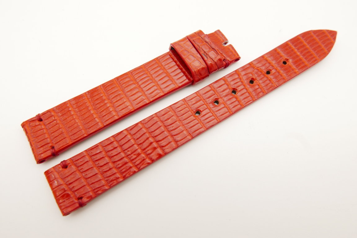 14mm/14mm Red Genuine LIZARD Skin Leather Watch Strap Band #WT5165