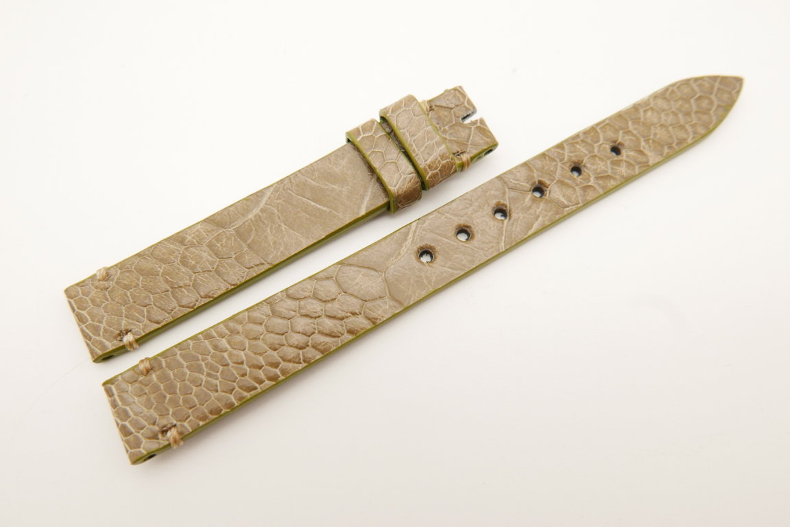 12mm/12mm Light Green Genuine OSTRICH Skin Leather Watch Strap Band #WT5218