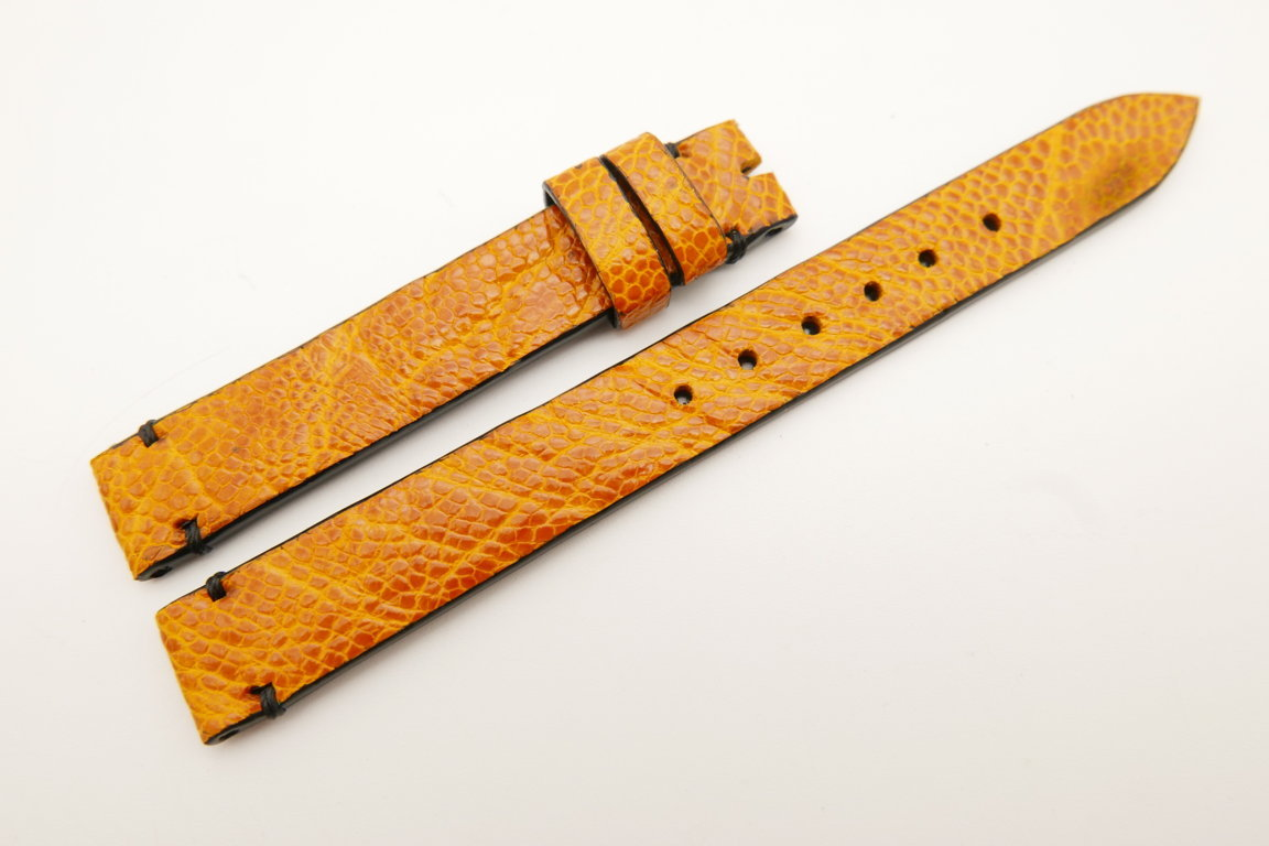12mm/12mm Orange Genuine OSTRICH Skin Leather Watch Strap Band #WT5220