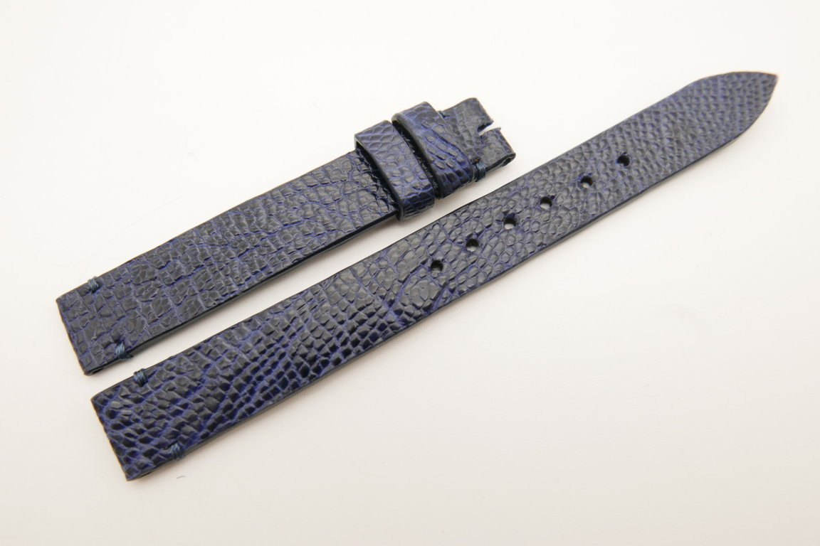12mm/12mm Dark Navy Blue Genuine OSTRICH Skin Leather Watch Strap Band #WT5221