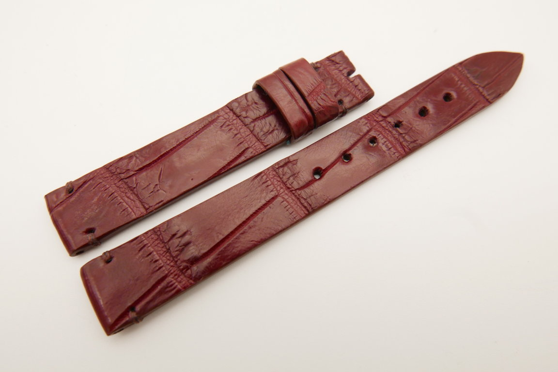 14mm/14mm Red Brown Genuine CROCODILE Skin Leather Watch Strap Band #WT5182
