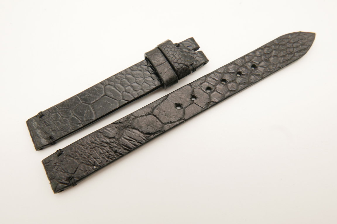 12mm/12mm Black Genuine OSTRICH Skin Leather Watch Strap Band #WT5224
