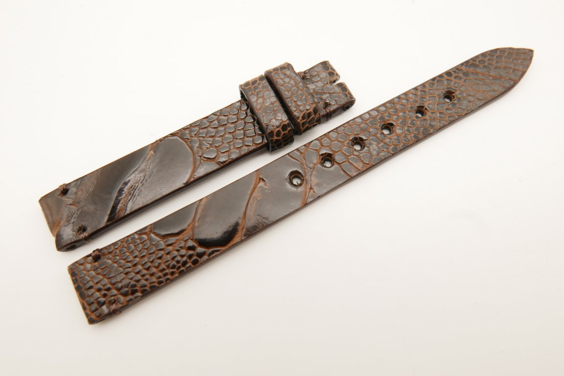 12mm/12mm Dark Brown Genuine OSTRICH Skin Leather Watch Strap Band #WT5225
