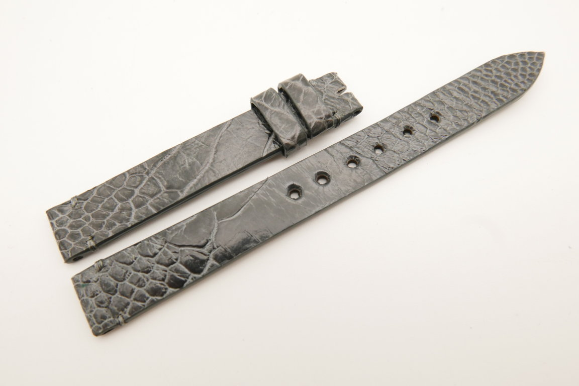 12mm/12mm Gray Genuine OSTRICH Skin Leather Watch Strap Band #WT5226