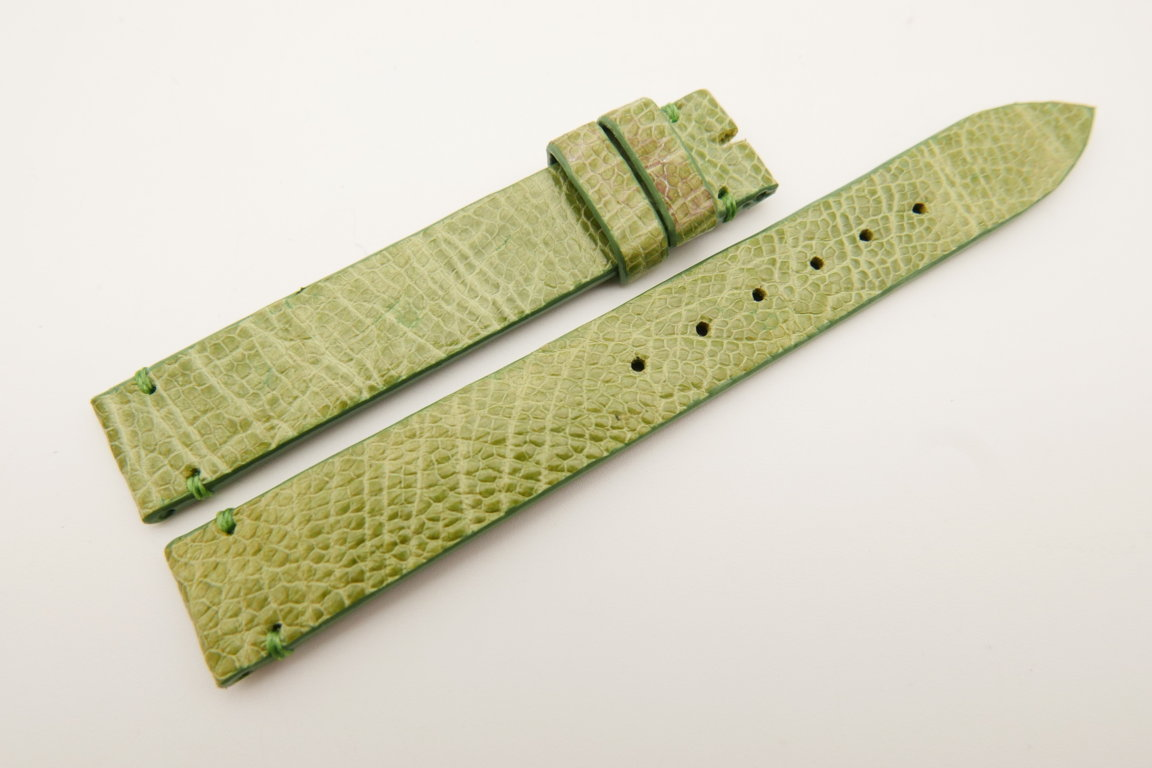 14mm/14mm Light Green Genuine OSTRICH Skin Leather Watch Strap Band #WT5188