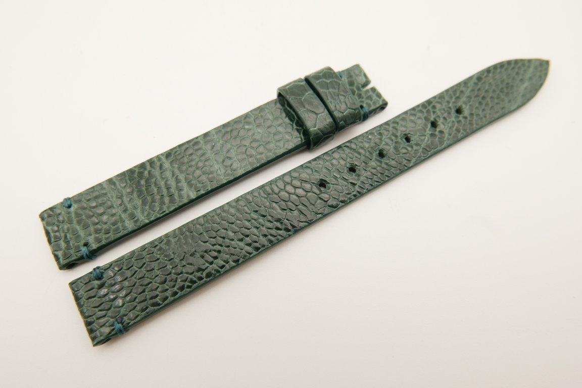 12mm/12mm Green Genuine OSTRICH Skin Leather Watch Strap Band #WT5192
