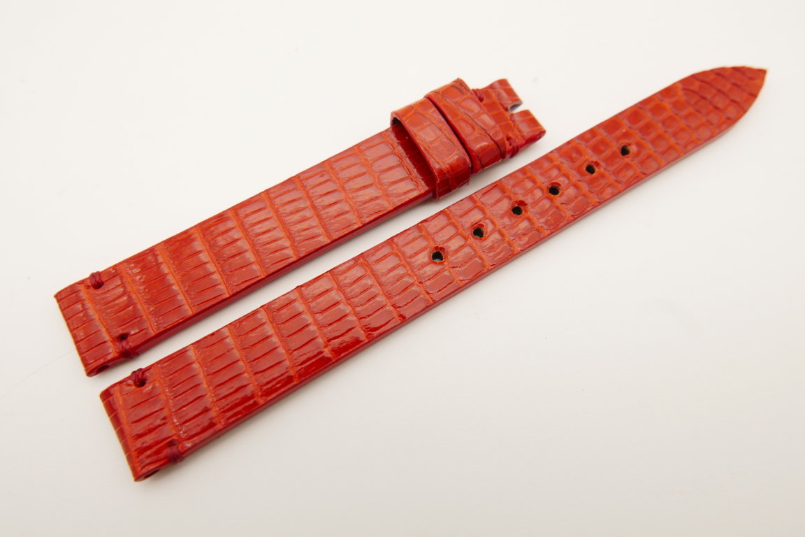12mm/12mm Red Genuine LIZARD Skin Leather Watch Strap Band #WT5195