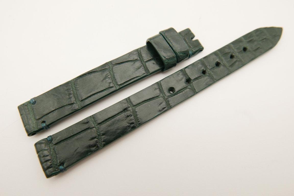 12mm/12mm Dark Green Genuine CROCODILE Skin Leather Watch Strap Band #WT5200