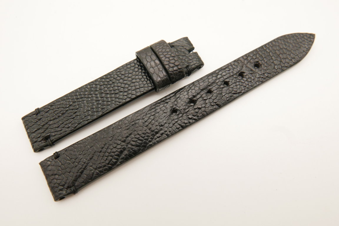 14mm/14mm Black Genuine OSTRICH Skin Leather Watch Strap Band #WT5246