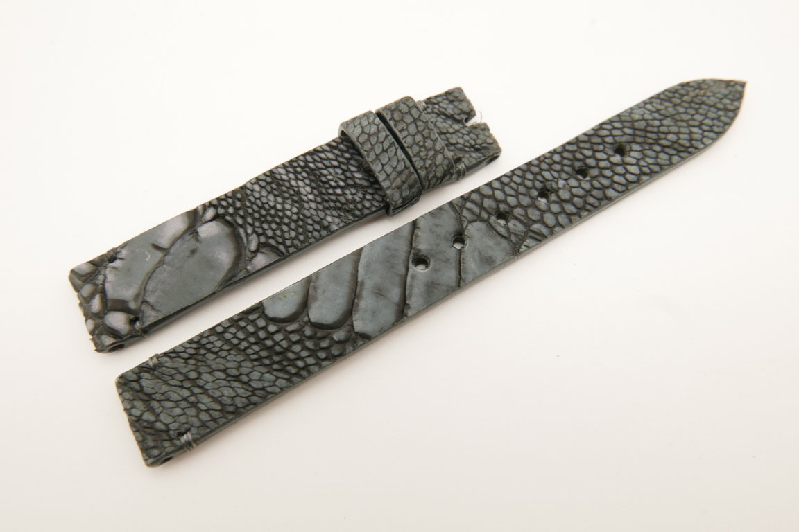 14mm/14mm Dark Gray Genuine OSTRICH Skin Leather Watch Strap Band #WT5247