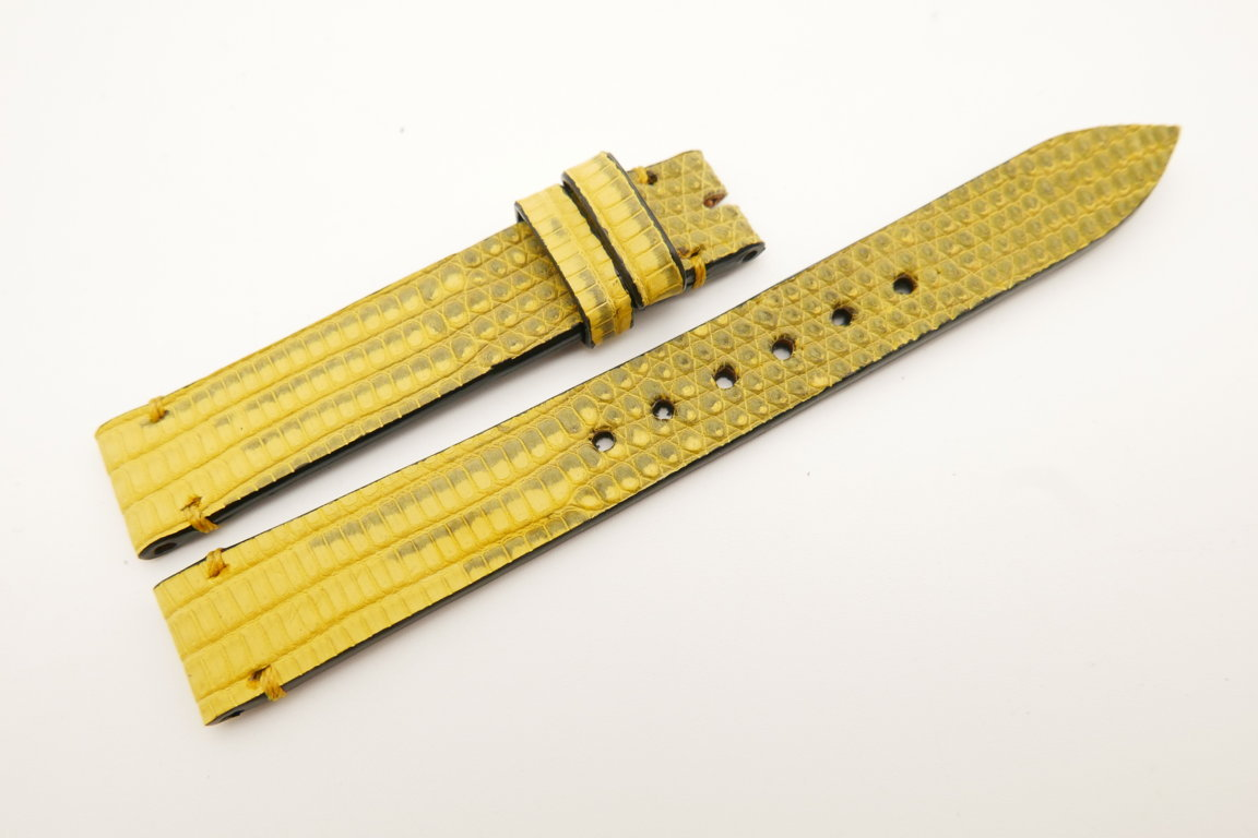 14mm/14mm Yellow Genuine LIZARD Skin Leather Watch Strap Band #WT5248