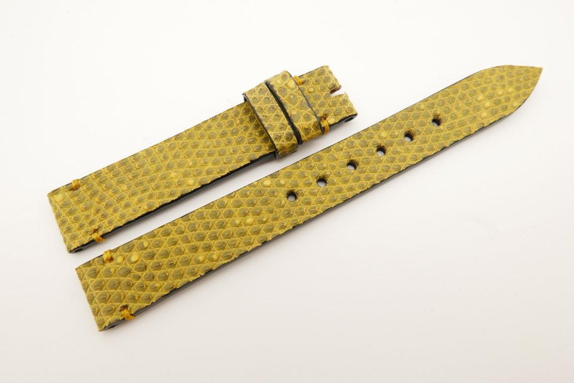 14mm/14mm Yellow Genuine LIZARD Skin Leather Watch Strap Band #WT5249