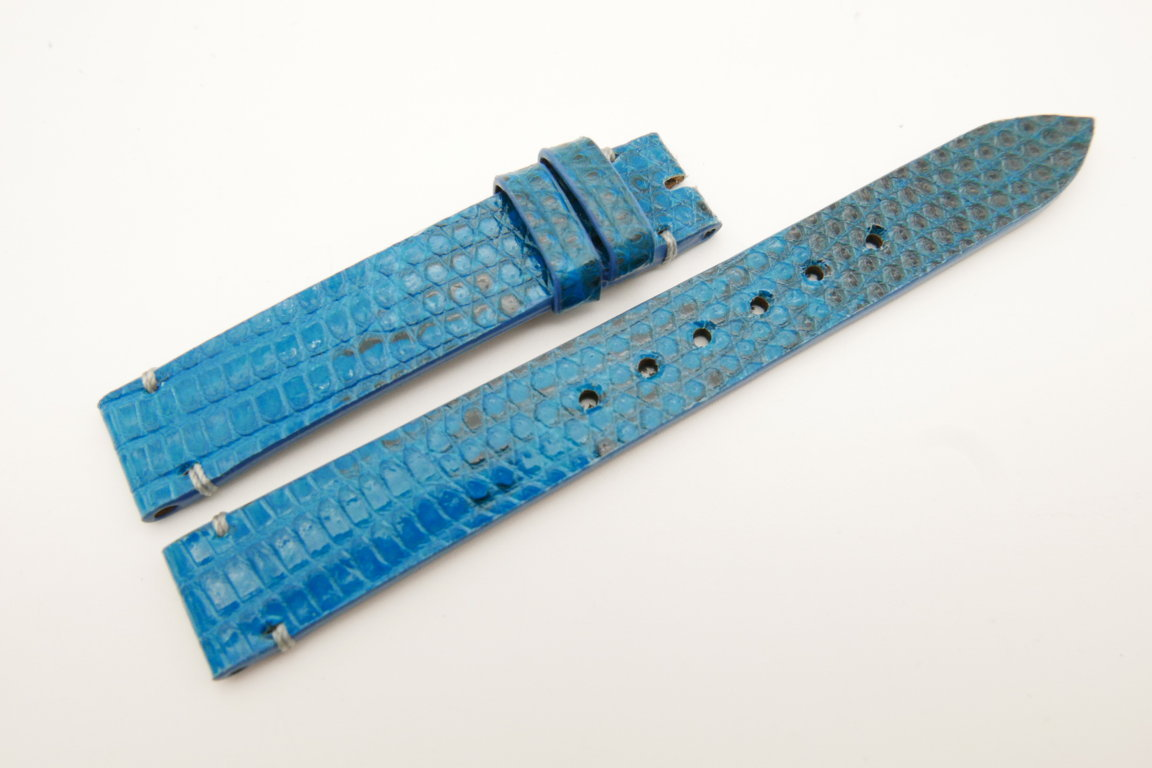 14mm/14mm Light Blue Genuine LIZARD Skin Leather Watch Strap Band #WT5251