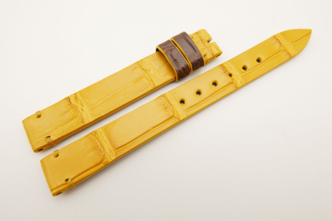 12mm/12mm Yellow Genuine CROCODILE Skin Leather Watch Strap Band #WT5210