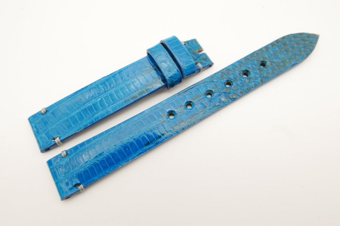 14mm/14mm Light Blue Genuine LIZARD Skin Leather Watch Strap Band #WT5252