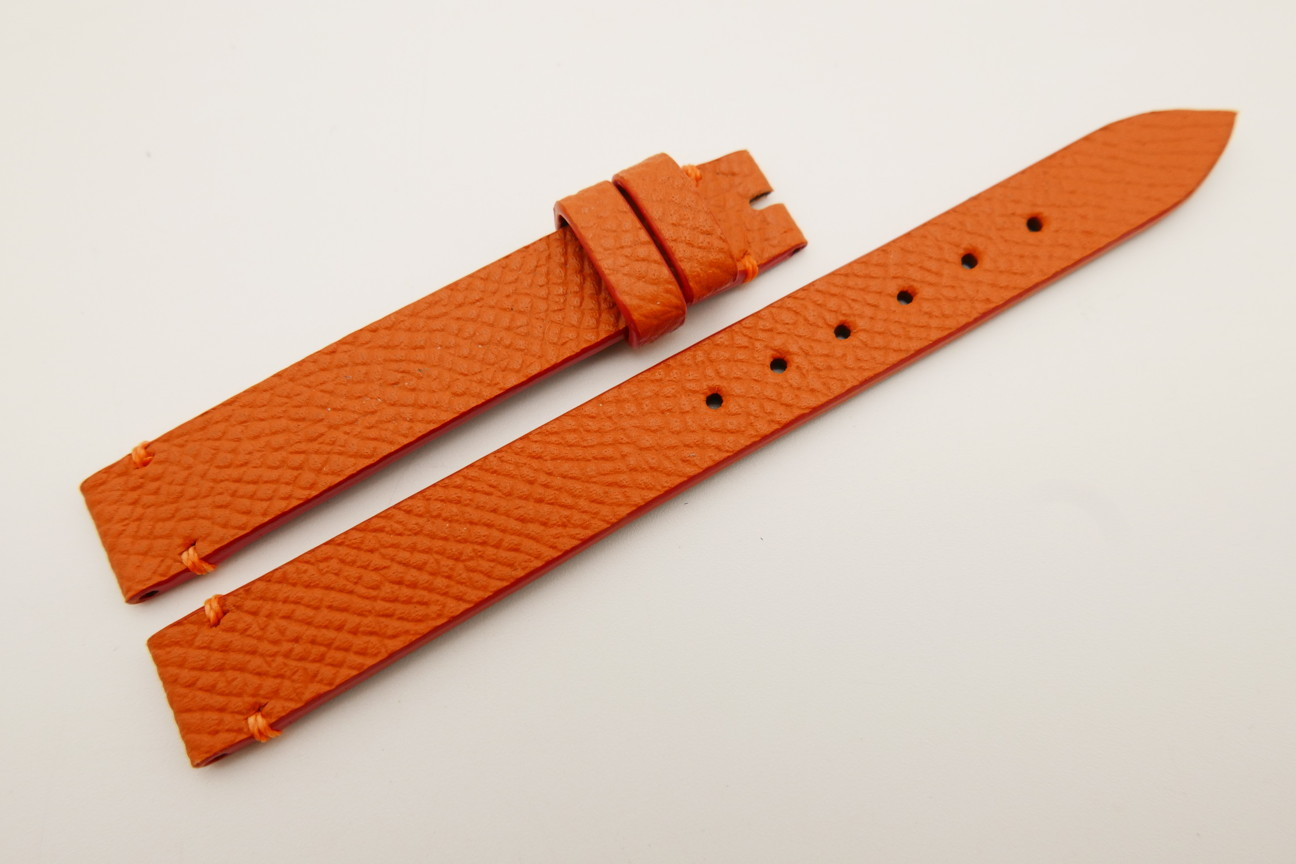12mm/12mm Orange Genuine EPSOM CALF Skin Leather Watch Strap Band #WT5282