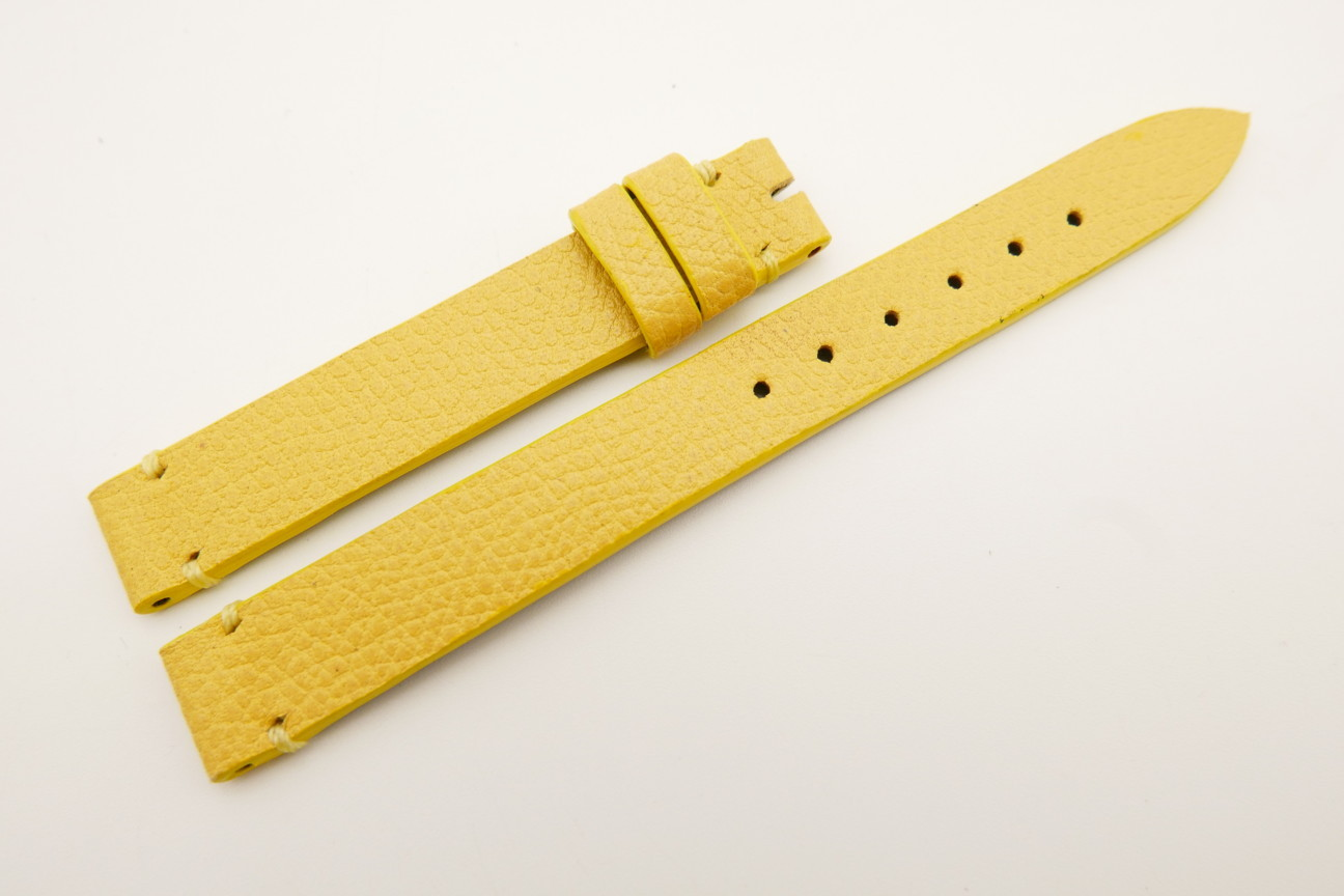 12mm/12mm Yellow Genuine EPSOM CALF Skin Leather Watch Strap Band #WT5283