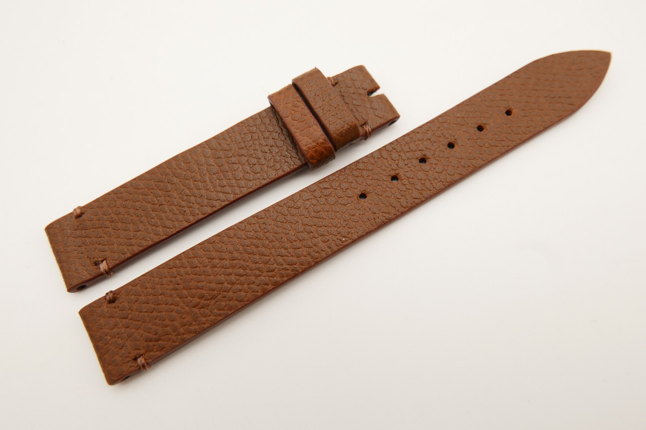 14mm/14mm Brown Genuine EPSOM CALF Skin Leather Watch Strap Band #WT5284