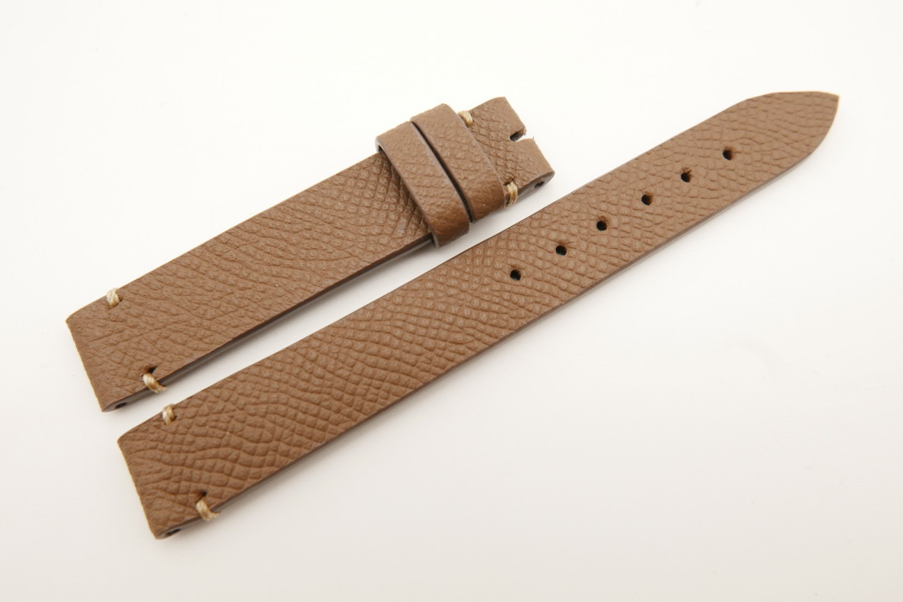 14mm/14mm Brown Genuine EPSOM CALF Skin Leather Watch Strap Band #WT5287