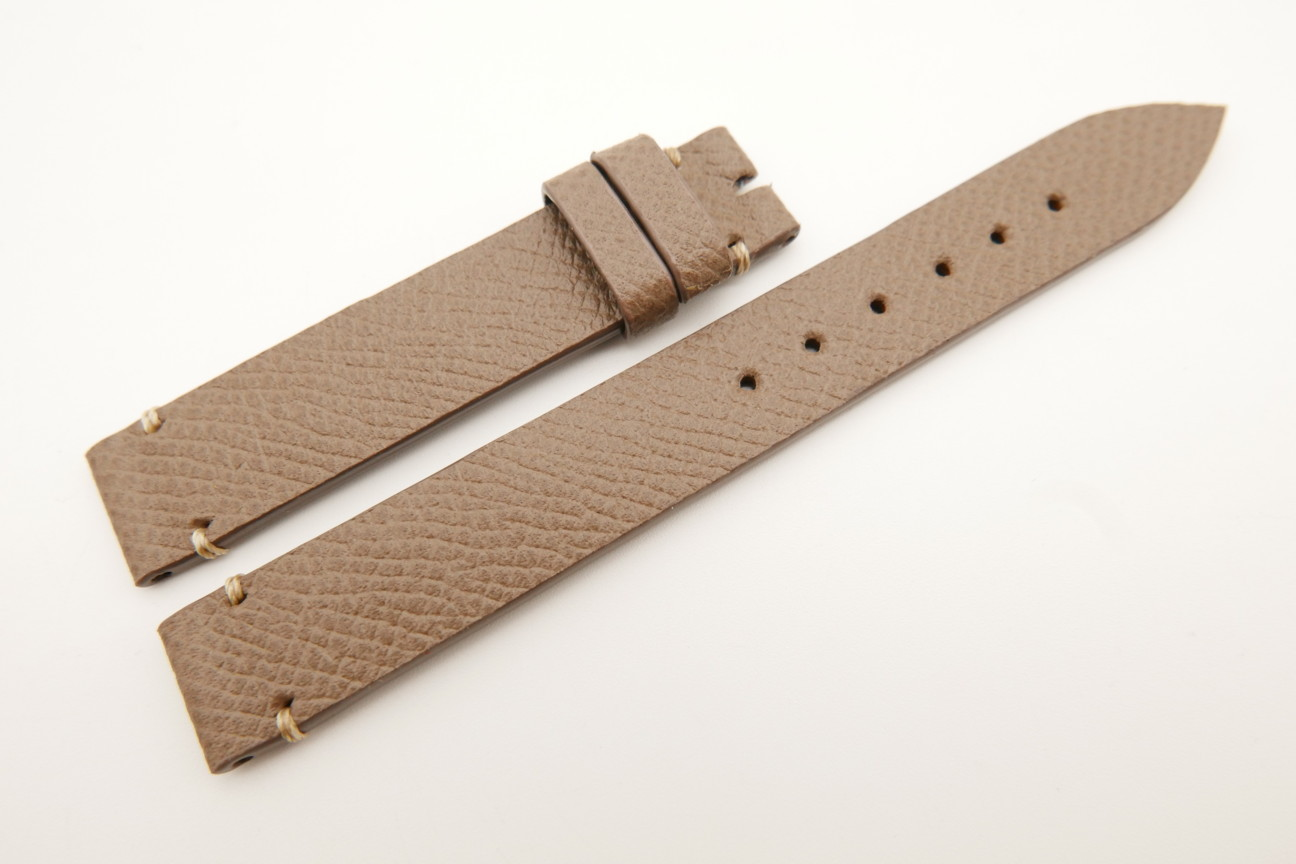 14mm/14mm Taupe Genuine EPSOM CALF Skin Leather Watch Strap Band #WT5289