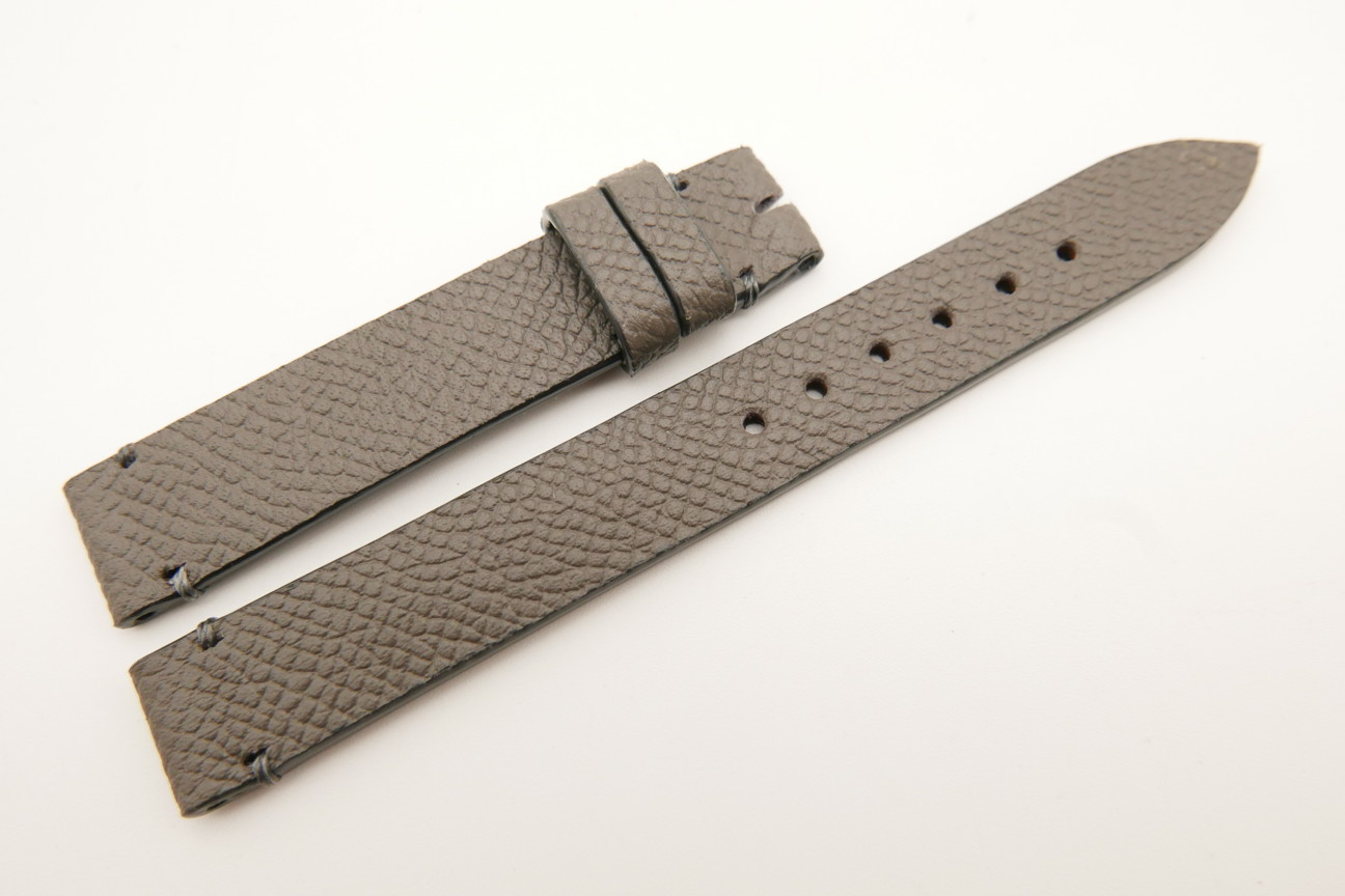 14mm/14mm Gray Genuine EPSOM CALF Skin Leather Watch Strap Band #WT5293