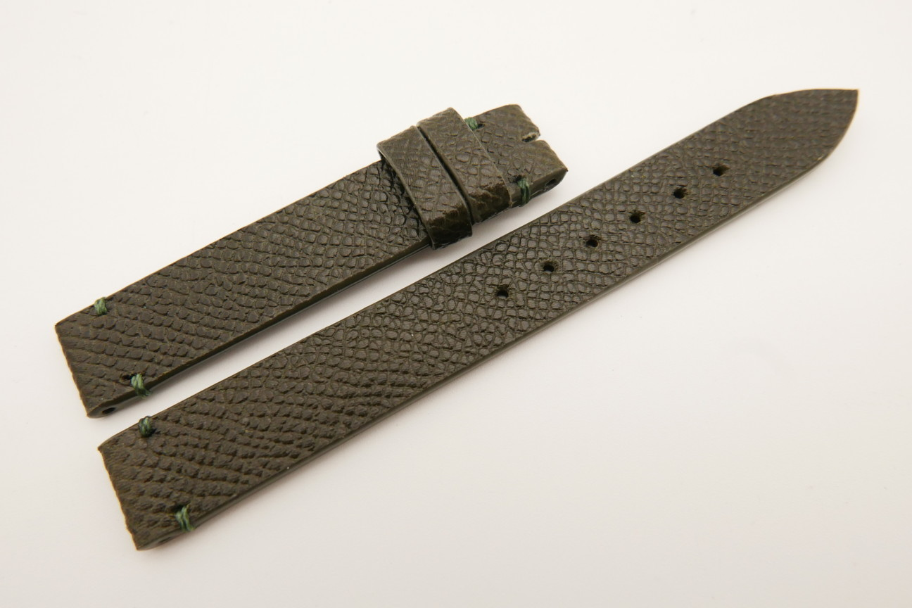 14mm/14mm Moss Green Genuine EPSOM CALF Skin Leather Watch Strap Band #WT5300