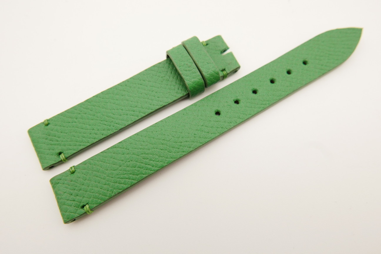 14mm/14mm Green Genuine EPSOM CALF Skin Leather Watch Strap Band #WT5302