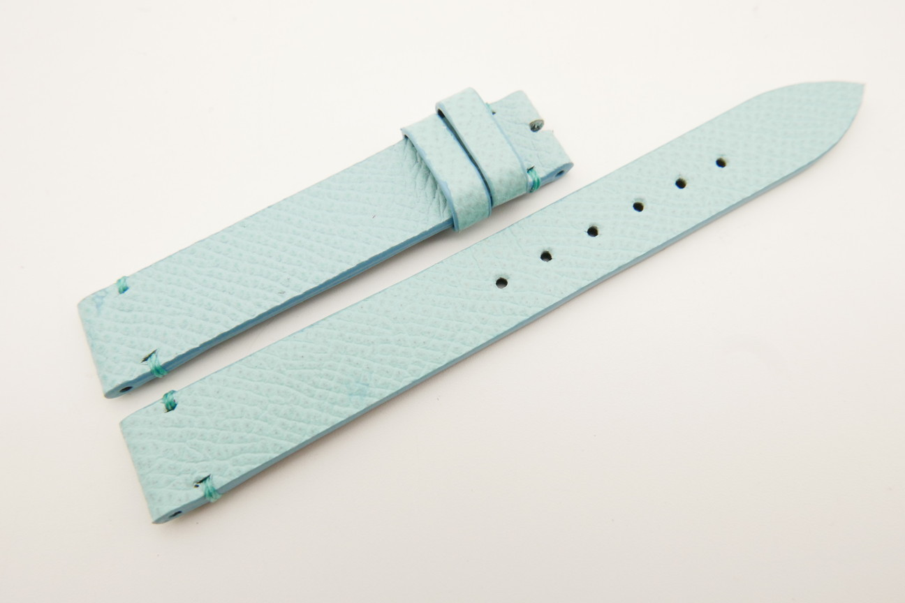 14mm/14mm Baby Blue Genuine EPSOM CALF Skin Leather Watch Strap Band #WT5303
