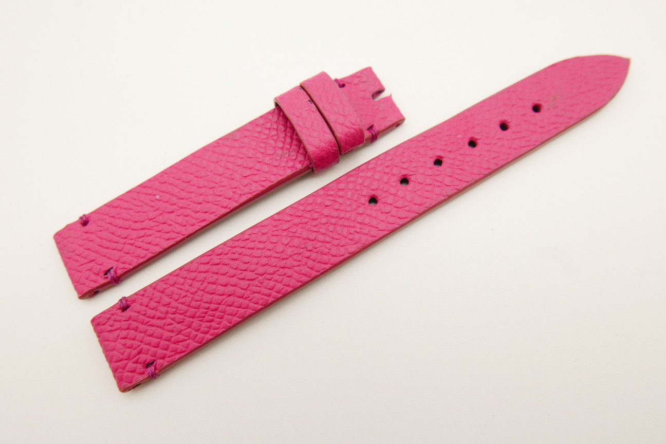 14mm/14mm Pink Genuine EPSOM CALF Skin Leather Watch Strap Band #WT5304