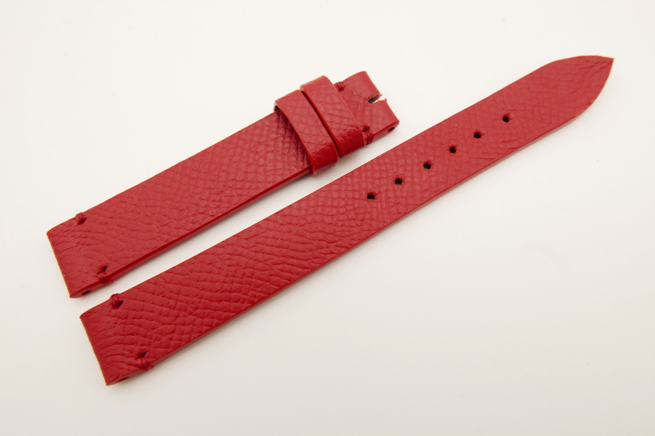 14mm/14mm Red Genuine EPSOM CALF Skin Leather Watch Strap Band #WT5305