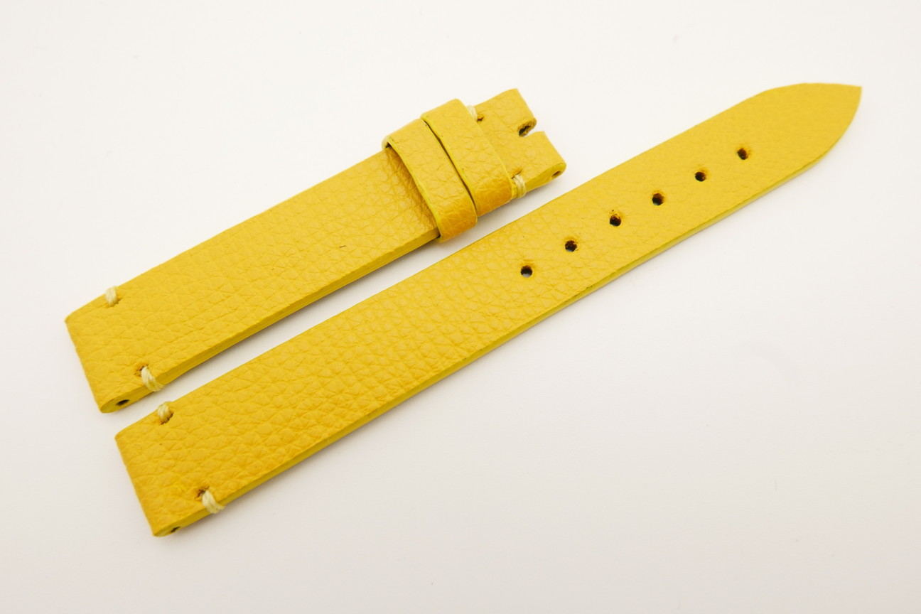 14mm/14mm Yellow Genuine EPSOM CALF Skin Leather Watch Strap Band #WT5308