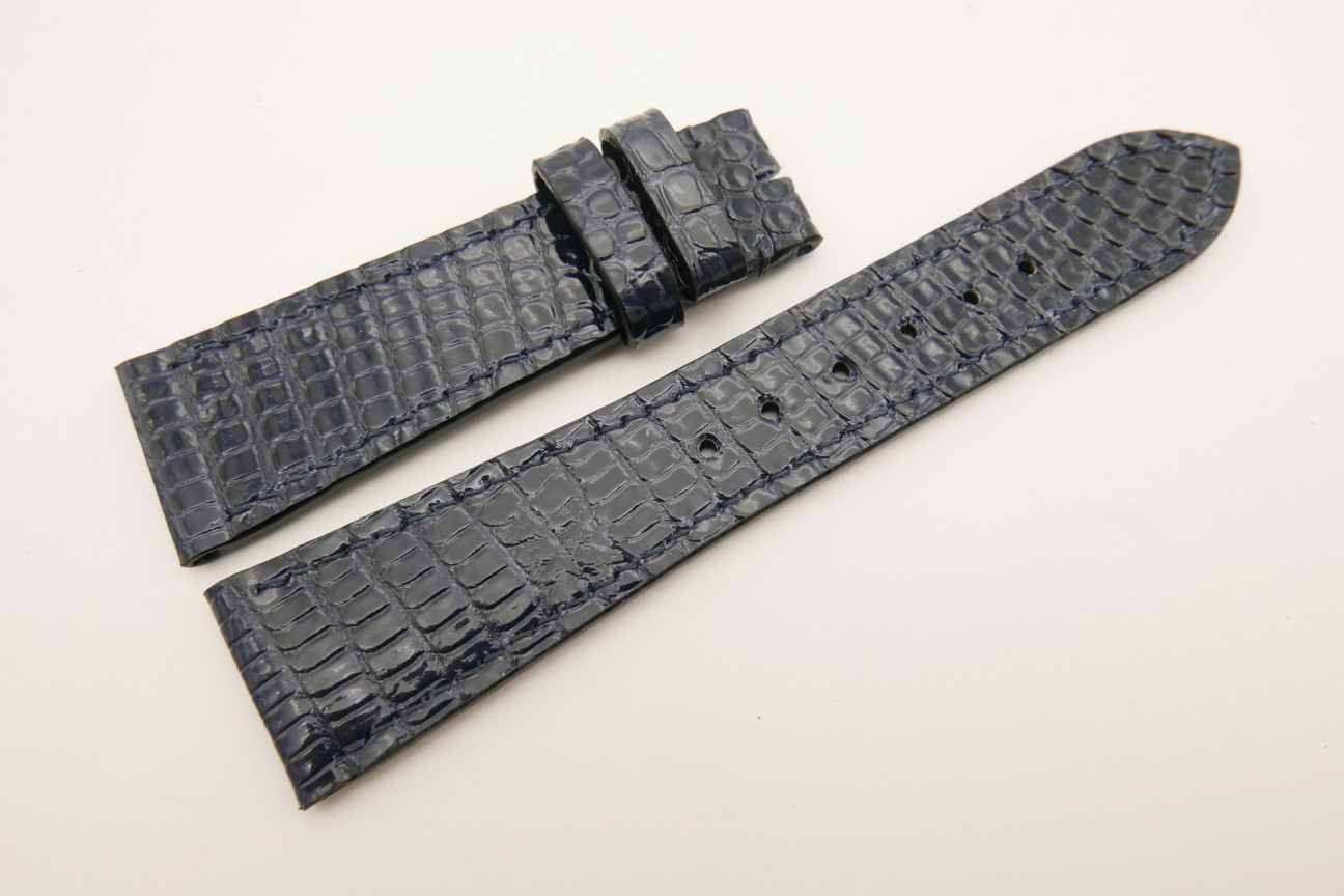 23mm/18mm Dark Navy Blue Genuine LIZARD Skin Leather Watch Strap #WT5320