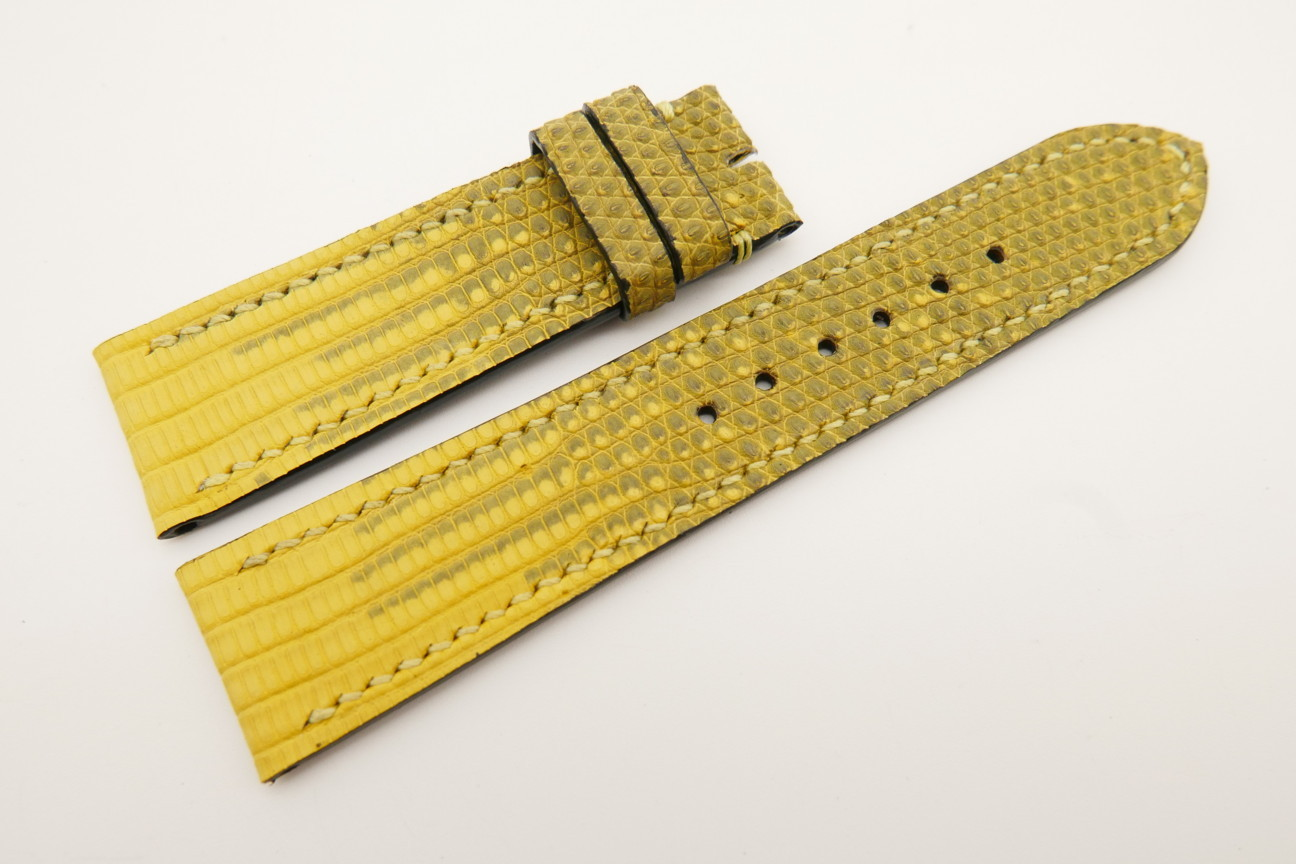 22mm/20mm Yellow Genuine LIZARD Skin Leather Watch Strap #WT5328