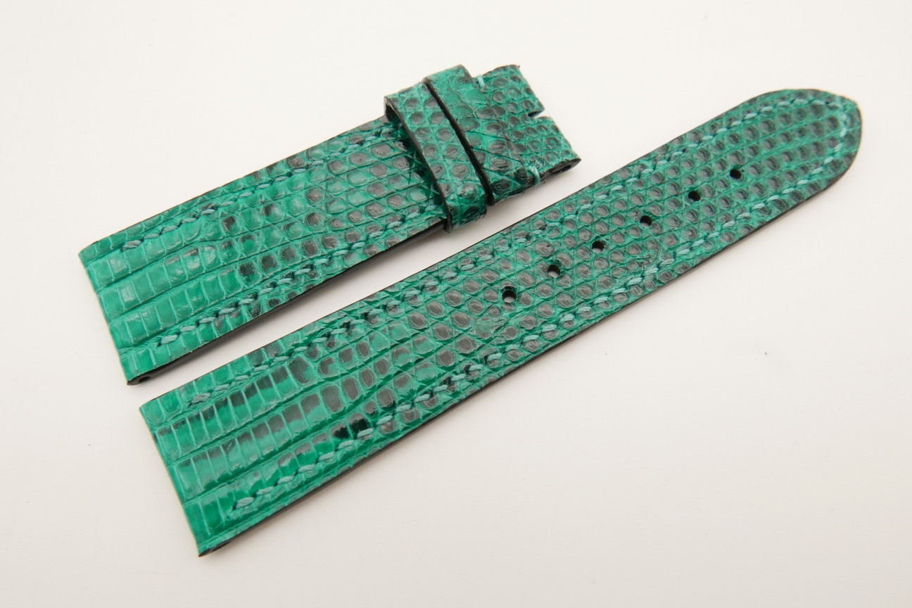 22mm/20mm Jade Green Genuine LIZARD Skin Leather Watch Strap #WT5329