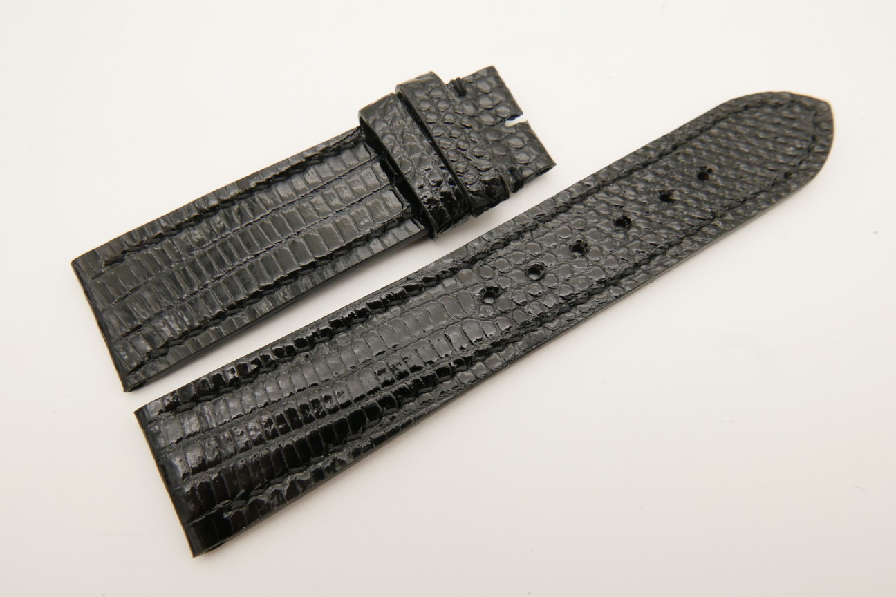 22mm/20mm Black Genuine LIZARD Skin Leather Watch Strap #WT5330
