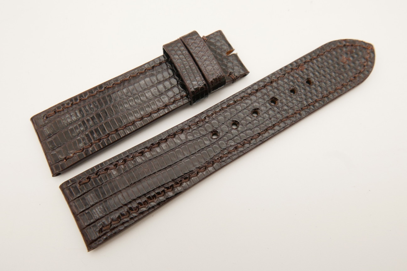 22mm/20mm Dark Brown Genuine LIZARD Skin Leather Watch Strap #WT5334