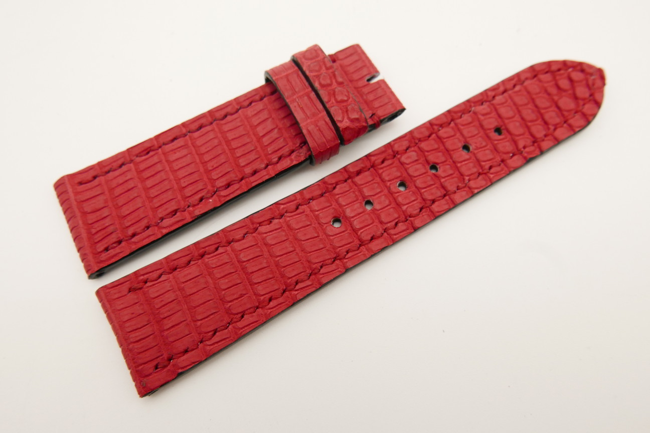 22mm/20mm Red Genuine LIZARD Skin Leather Watch Strap #WT5336
