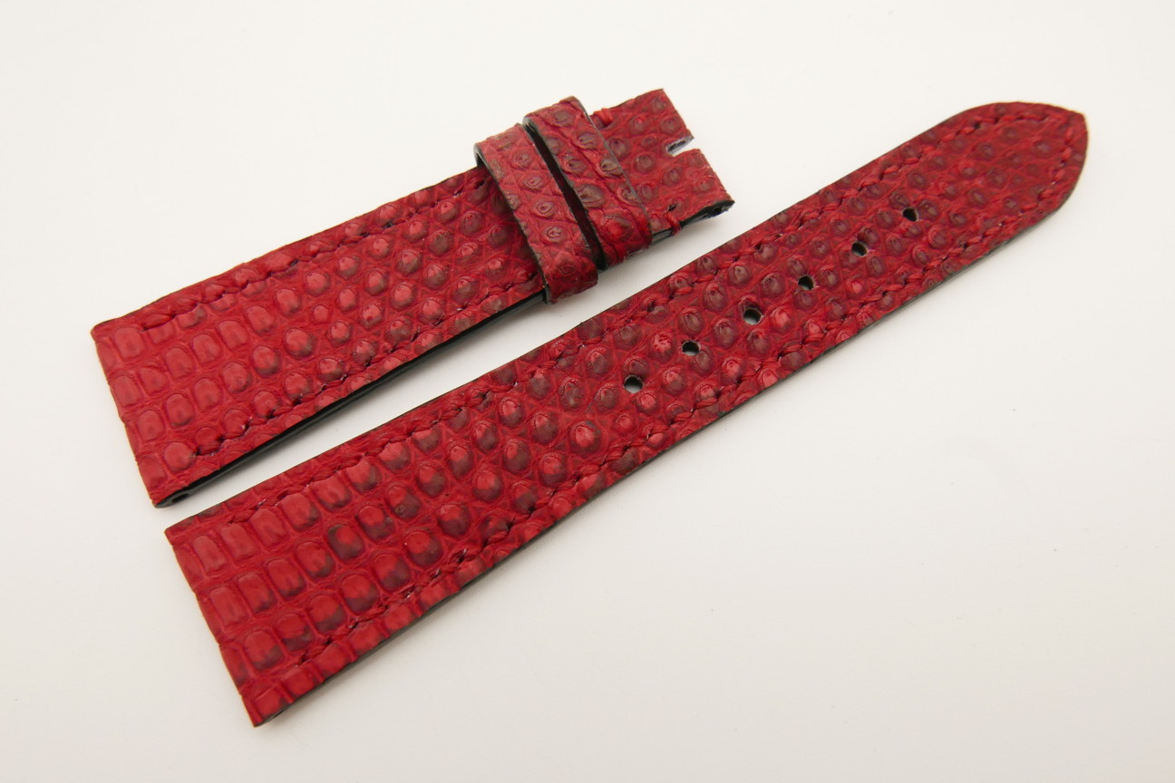 23mm/18mm Red Genuine LIZARD Skin Leather Watch Strap #WT5343